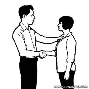 Körpersprache 49 Oberarm Handschlag