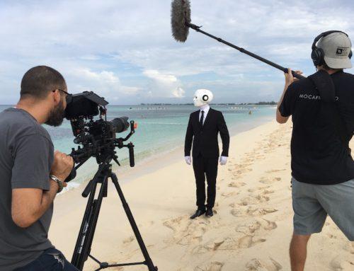 Dreharbeiten: Schauspieler und Darsteller für humanoide Roboter für Film und Video Produktion