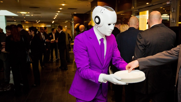 humanoid robot event actor costume serving